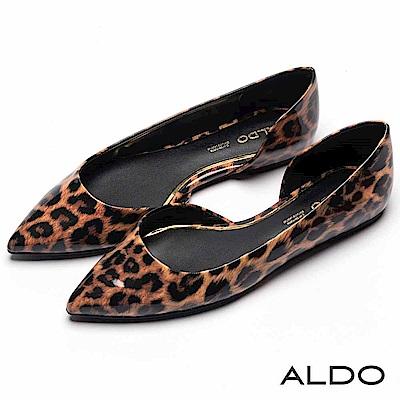 ALDO 原色不對稱金邊真皮鞋墊尖頭平底鞋~性感豹紋