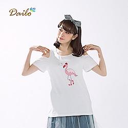 【Dailo】粉鶴露肩圓領上衣(三色)