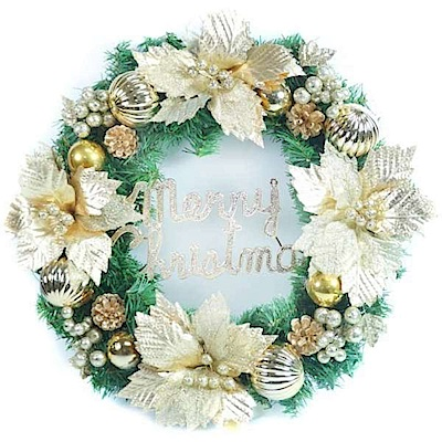 摩達客 20吋大浪漫歐系聖誕花裝飾綠色聖誕花圈(宮廷雙金系)(台灣手工組裝出貨)