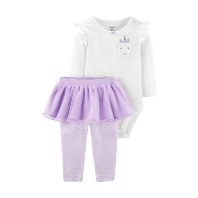 Carter's台灣總代理 獨角獸粉紫紗裙2件組套裝