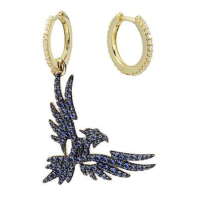 apm MONACO法國精品珠寶 藍色晶鑽老鷹不對稱金色耳環