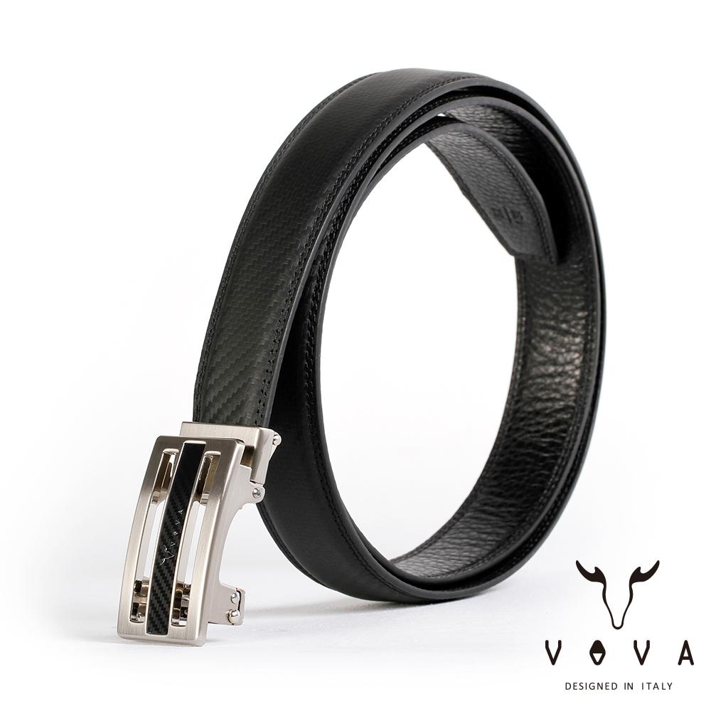 VOVA - 商務紳士時尚造型自動扣皮帶 - 亮銀色