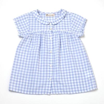 PIPPY清爽透氣格紋印花上衣-水