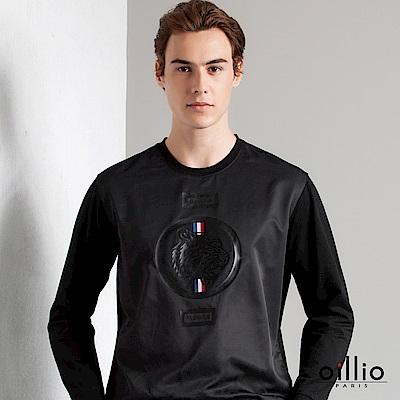 歐洲貴族 oillio 長袖T恤 休閒印花 年輕款式 黑色
