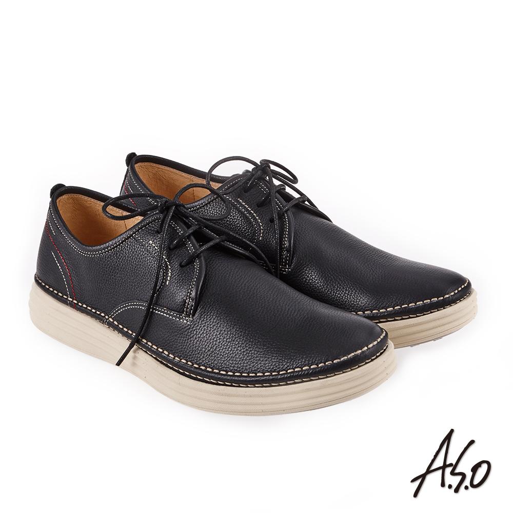 A.S.O 3D超動能 圓楦素面機能休閒鞋 黑
