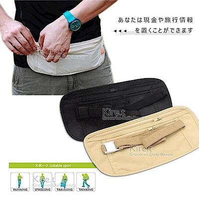 【超值2入】kiret 貼身腰包 隱形 防搶 腰包 旅行超薄貼身 隱藏腰包-黑色