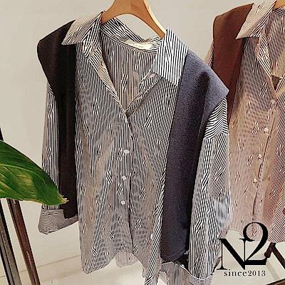 上衣 正韓不規則線條假兩件可拆造型長袖襯衫(灰黑) N2