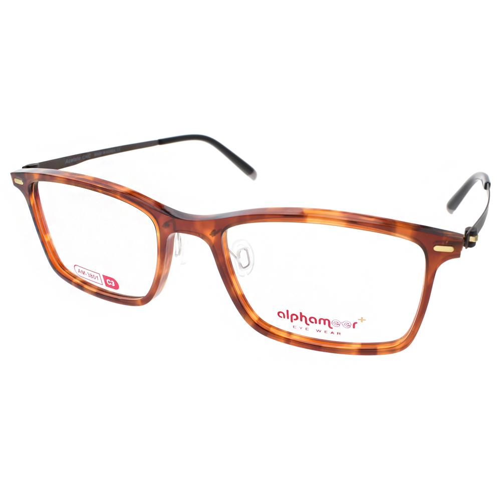Alphameer光學眼鏡 韓國塑鋼系列/透琥珀#AM3801 C03