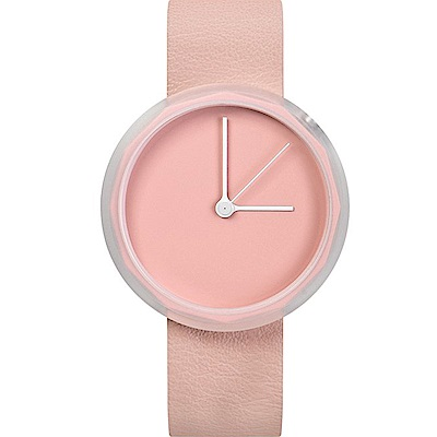 AÃRK 淡粉極簡主義真皮革腕錶 -粉色/38mm