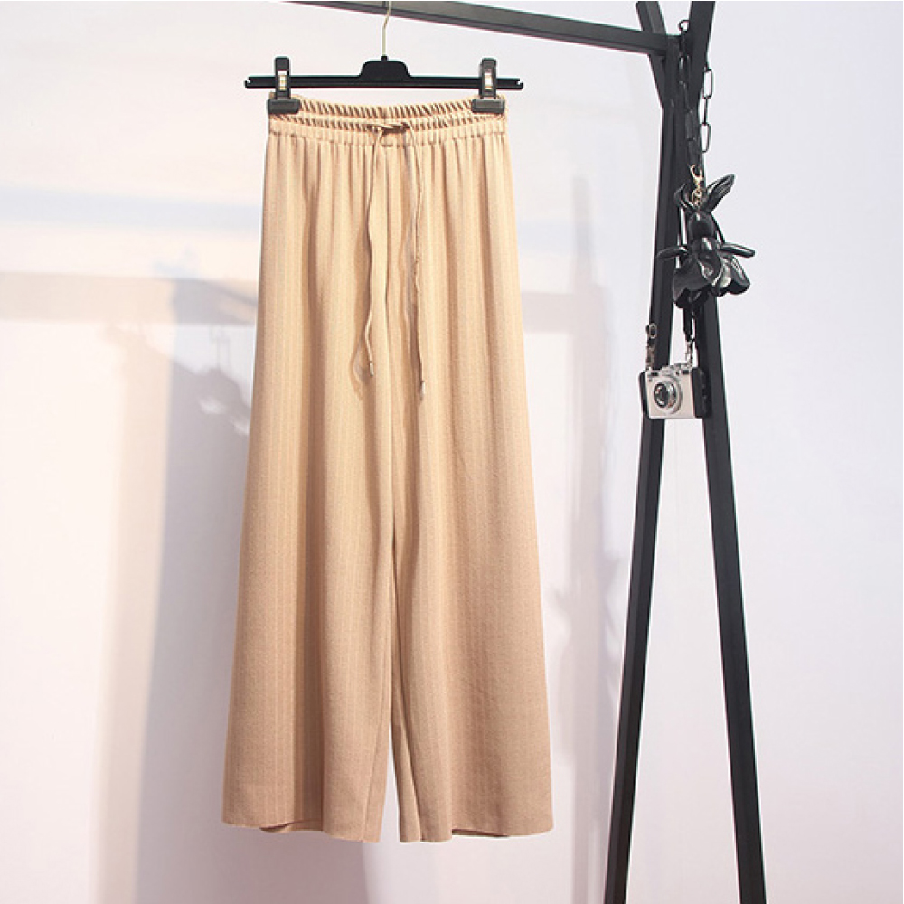 中大尺碼素面鬆緊腰抽繩坑條針織闊腿褲寬褲XL~4L-Ballet Dolly (卡其)