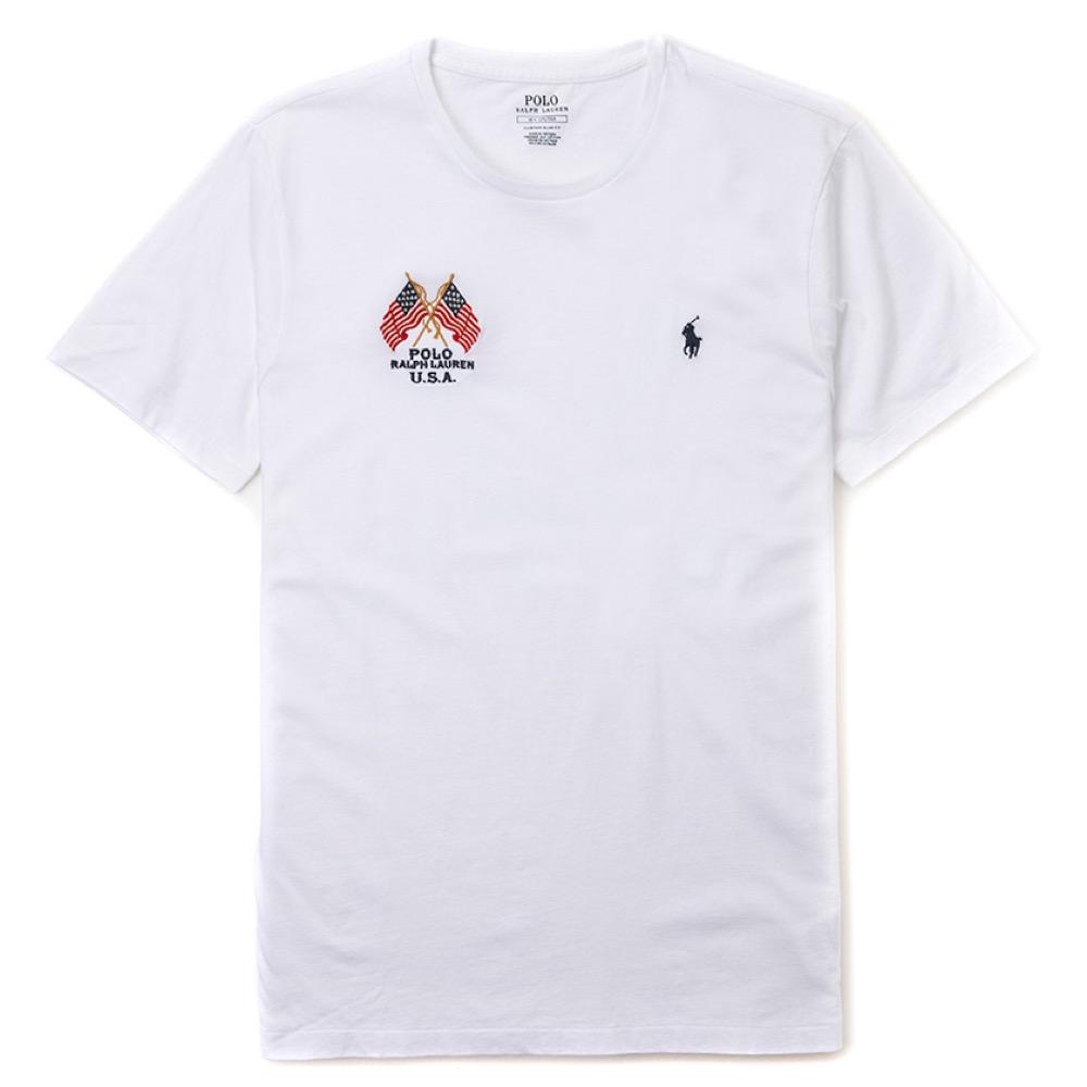 Polo Ralph Lauren 年度熱銷旗幟小馬圓領素面短袖T恤-白色