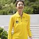 LEIDOOE格紋口袋休閒女版長袖POLO衫55206黃色 product thumbnail 1