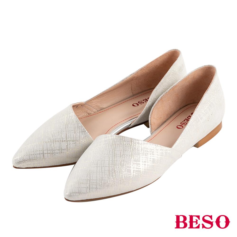 BESO 品味風格 素面斜口尖楦低跟鞋~銀