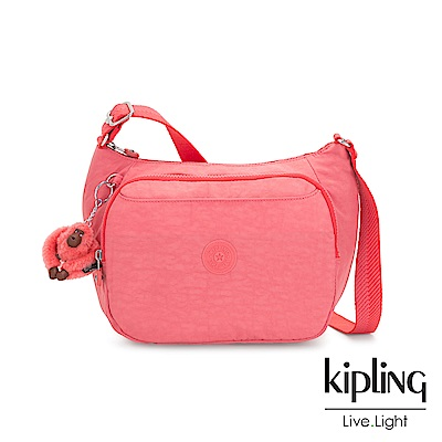 Kipling 甜美蜜桃橘素面雙層側背包-CAI