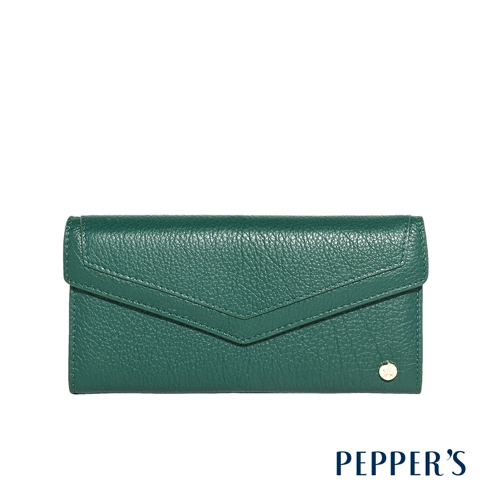 PEPPER'S Doris 牛皮掀蓋長夾 - 森林綠