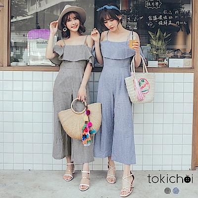 東京著衣 渡假風格子細肩帶連身褲-S.M.L(共二色)