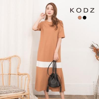 東京著衣-KODZ 氣質百搭圓領短袖連身洋裝-S.M.L(共二色)