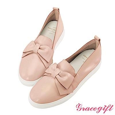 Grace gift-全真皮蝴蝶結柔軟懶人鞋 粉