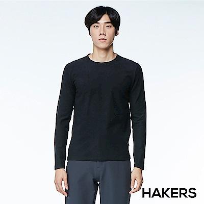 【HAKERS】男款 天絲棉條紋保暖衣(黑色)