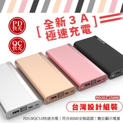 【台灣製造】25000 Series PD3.0/QC3.0 液晶顯示快充行動電源/超大容量