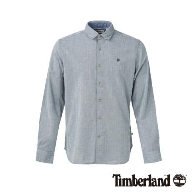 Timberland 男款淺單寧藍修身彈性長袖襯衫 A1NMJ