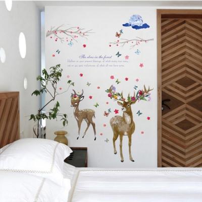 半島良品 DIY北歐風無痕壁貼 SK9295-花朵麋鹿 60X90