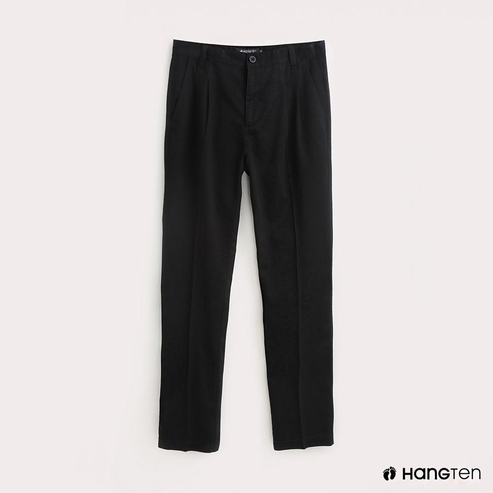 Hang Ten-男裝折線REGULAR FIT防皺工作長褲-黑