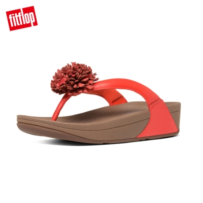 FitFlop FLOWERBALL LEATHER 夾腳涼鞋 亮橘