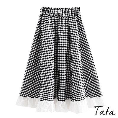 拼接花邊格紋裙 TATA