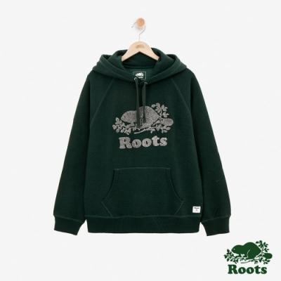 ROOTS男裝 - 雪尼爾刷毛庫柏海狸連帽上衣-綠