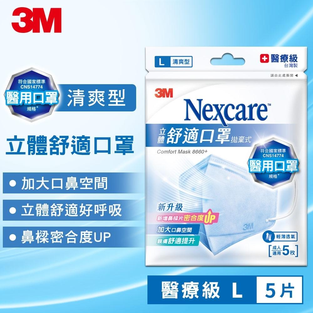 3M Nexcare 8660+ 清爽舒適口罩(L尺寸/5片包)
