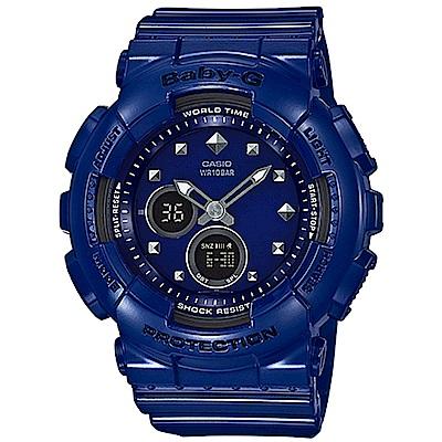 BABY-G 金屬鉚釘 搖滾女孩時尚休閒錶(BA-125-2A)-藍/43.4mm