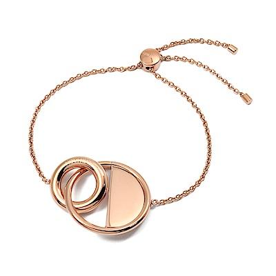 Calvin Klein CK LOCKED簡約雙圈半圓玫瑰金可調節手鍊