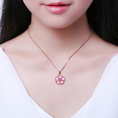 梨花HaNA 百搭甜美系列粉紅桃晶花卉項鍊玫瑰金
