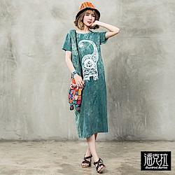 潘克拉 親子象石洗連身裙- 綠