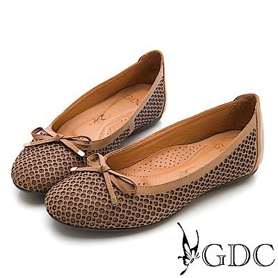 GDC-真皮特殊圓點蝴蝶結平底包鞋-棕色