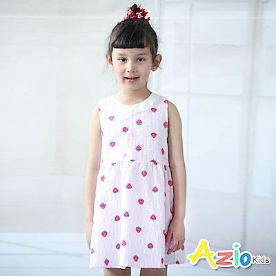 Azio Kids 洋裝 草莓條紋拼接領無袖洋裝(粉)