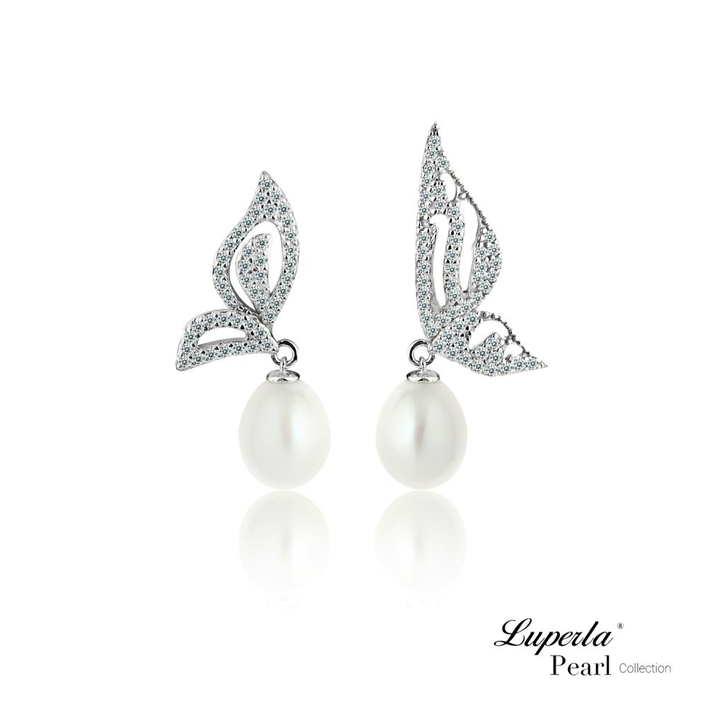 大東山珠寶 純銀晶鑽珍珠耳環 浪漫舞蝶