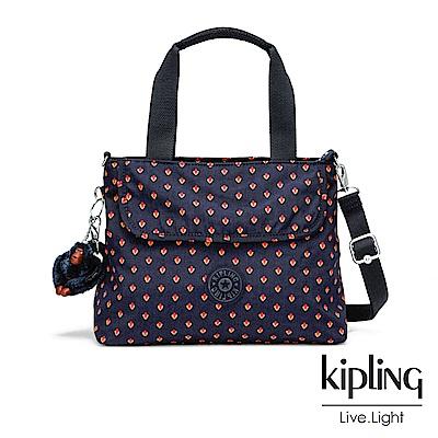 Kipling 紅黃幾何圖騰前翻蓋手提側背包-ENORA