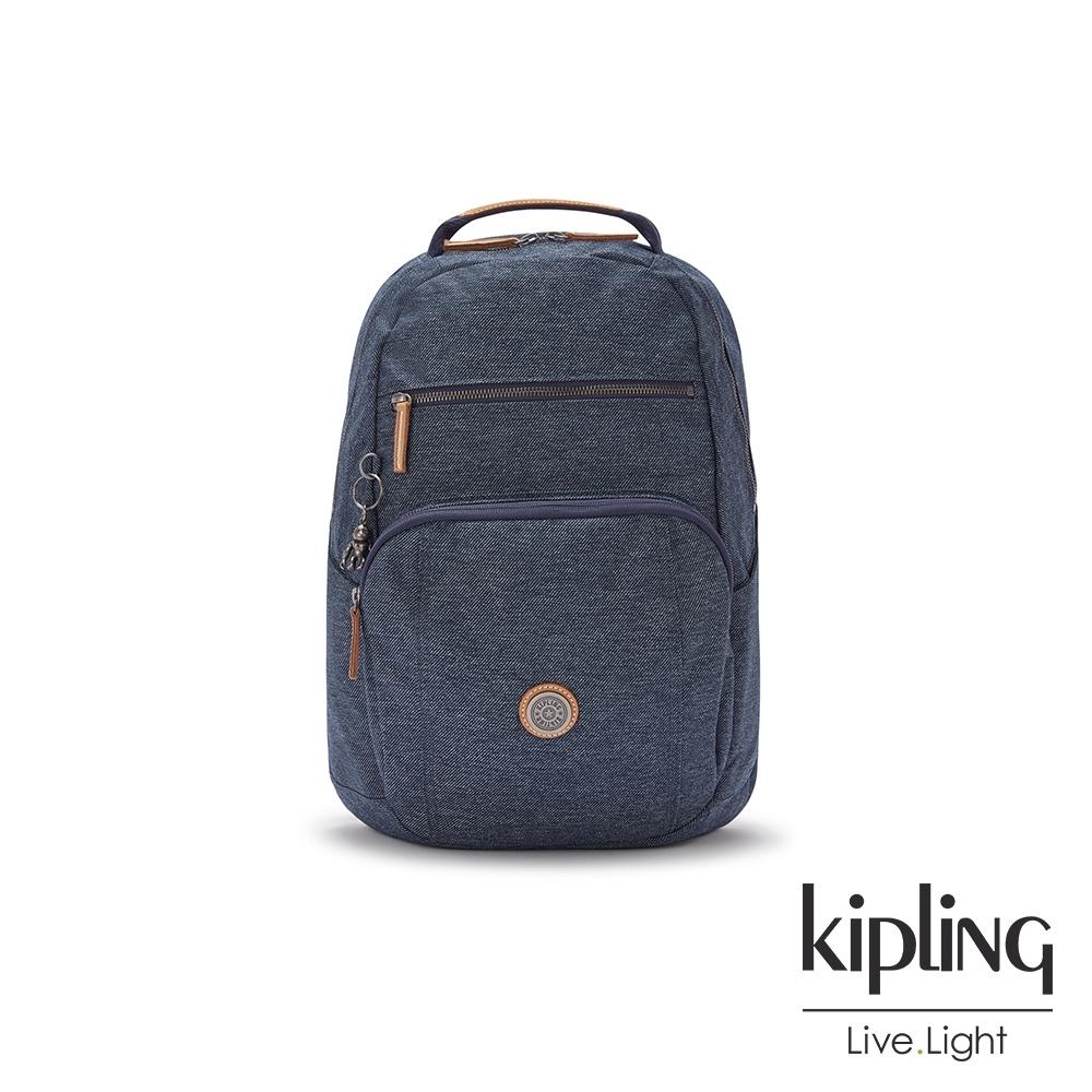 Kipling 深色丹寧藍前後雙層收納後背包-TROY