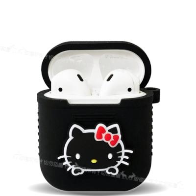 三麗鷗授權 Hello Kitty Apple Airpods 藍芽耳機盒保護套(凱蒂黑)