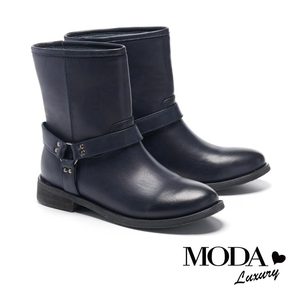 短靴 MODA Luxury 仿舊漸層刷色質感釦帶裝飾低跟短靴-深藍
