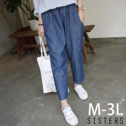 輕單寧鬆緊腰牛仔褲老爺褲(M-3L) SISTERS