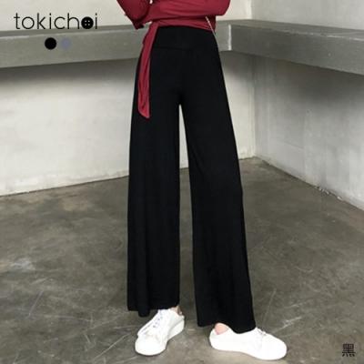 東京著衣 有個性腰鬆緊修身落地長褲