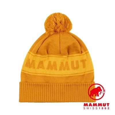【Mammut】Peaks Beanie 保暖針織LOGO毛球羊毛帽 金黃/黃鳶尾 #1191-01100
