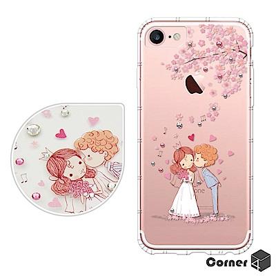 Corner4 iPhone8/7/6s/6 4.7吋奧地利彩鑽防摔手機殼-櫻花...