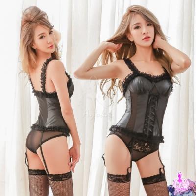 Ayoka 馬甲 性感黑色蕾絲馬甲吊襪帶五件組-黑F