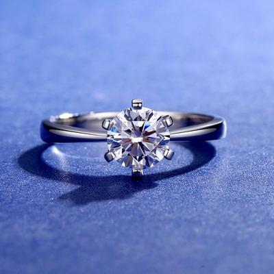 米蘭精品 莫桑鑽戒指925純銀銀飾-1ct簡約六爪鑲嵌情人節生日禮物女飾品73yk82