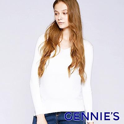 Gennies專櫃-素面簡約V領微性感上衣(TSC02)-白