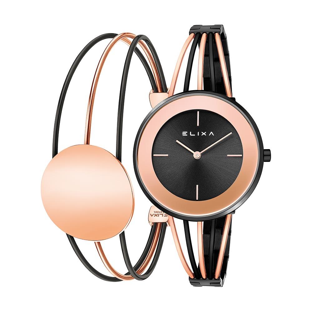 ELIXA  Finesse精巧時間雙色系列手錶手環組合 黑x玫瑰金36mm